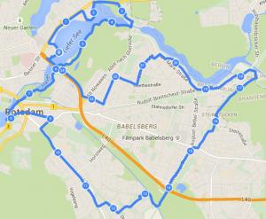 Route der zweiten Nachtradtour durch Potsdam.