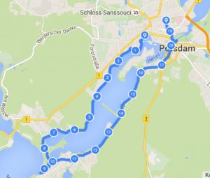 Route der dritten Nachtradtour durch Potsdam und Umgebung.